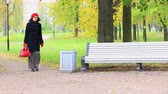 boina : Beautiful woman with a bag, going to the bench in autumn park from left side Archivo de Video