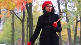 oublier : A beautiful woman with red maple leaf. teachers day Vidéos Libres De Droits