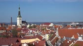 çatılar : Amazing aerial Tallinn view over the old town, cathedral and narrow streets surrounded by orange roofs.