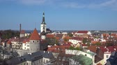 tallin : Amazing aerial Tallinn view over the old town, cathedral and narrow streets surrounded by orange roofs.