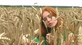 glides : Walk on the wheat field. Slow motion. Serious girl sits in a field of ripe wheat. She pushes the stems and looks at the camera. Stock Footage