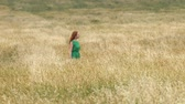 grain growing : Walk in the mature field. Slow motion. A beautiful red-haired girl in a green dress is walking along the yellow field (oats and wheat).