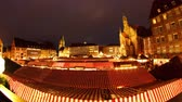 weihnachten : NUREMBERG, GERMANY - JANUARY 20: Timelapse of people visit the famous Christmas market in Nuremberg by night on January 20, 2015 in Nuremberg, Germany.
