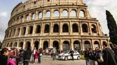 flavian : March 7, 2015, Rome, Italy: Time-lapse view as tourists visit the famous colosseum on March 7, 2015 in Rome, Italy.