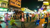 kaosan : BANGKOK, THAILAND - JANUARY 24: Time-lapse view of the Khaosanroad at night on January 24, 2016 in Bangkok, Thailand.