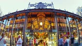 san miguel : MADRID, SPAIN - SEPTEMBER 9: Timelapse view of the San Miguel market on September 9, 2015 in Madrid, Spain.