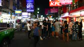 kaosan : BANGKOK, THAILAND - JANUARY 24: View of the Khaosanroad at night on January 24, 2016 in Bangkok, Thailand. Stock Footage
