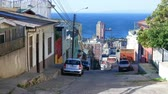 yırtık pırtık : VALPARAISO, CHILE -  JUNE 21: View of a quiet street on June 21, 2016 in Valparaiso, Chile. Stok Video