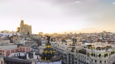 metropolitan : Timelapse view of the skyline of Madrid in the sunset Stock Footage