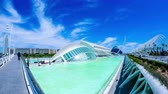 artes : VALENCIA, SPAIN - JULY 23: Time-lapse view of the ciudad de las artes y cienciasa on July 23, 2016 in Valencia, Spain.