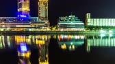 rio de la plata : BUENOS AIRES, ARGENTINA – SEPTEMBER 7: Time-lapse view of Puerto Madero at night on September 7, 2016 in Buenos Aires, Argentina.