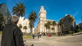 salvo palace : MONTEVIDEO, URUGUAY- SEPTEMBER 3: View of the Plaza Independencia on September 3, 2016 in Montevideo, Uruguay. Stock Footage