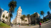 salvo palace : MONTEVIDEO, URUGUAY - SEPTEMBER 3: View of the Plaza Independencia on September 3, 2016 in Montevideo, Uruguay.