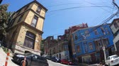 yırtık pırtık : VALPARAISO, CHILE – JUNE 21: View of a street on June 21, 2016 in Valparaiso, Chile. Stok Video