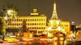 downtown : BANGKOK, THAILAND - JANUARY 23, 2016: Timelapse view of traffic at night on January 23, 2016 in Bangkok, Thailand. Stock Footage
