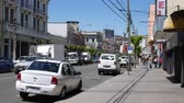 yırtık pırtık : VALPARAISO, CHILE - JUNE 21: View of a street on June 21, 2016 in Valparaiso, Chile. Stok Video