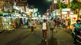 kaosan : BANGKOK, THAILAND - JANUARY 24: Timelapse view of the Khaosanroad at night on January 24, 2016 in Bangkok, Thailand. Stock Footage