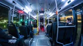 commute : BUENOS AIRES, ARGENTINA – SEPTEMBER 12: Time-lapse view of a journey with the public transport bus at night on September 12, 2016 in Buenos Aires, Argentina.