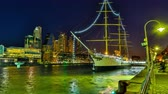 rio de la plata : BUENOS AIRES, ARGENTINA – SEPTEMBER 7: HDR Time-lapse view of the famous neighbourhood of Puerto Madero at night on September 7, 2016 in Buenos Aires, Argentina. Stock Footage