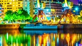 rio de la plata : BUENOS AIRES, ARGENTINA – SEPTEMBER 7: Time-lapse view of a boat at night in Puerto Madero on September 7, 2016 in Buenos Aires, Argentina.