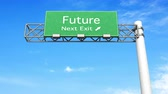 destino : 3D rendered animation. Highway Sign - next exit Future.