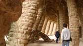 catalão : BARCELONA, SPAIN – JULY 11: View on Architecture in the Park Guell on July 11, 2016 in Barcelona, Spain.