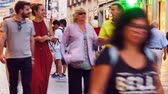 zóna : MADRID, SPAIN - SEPTEMBER 9: Timelapse view of people in the pedestrian zone on September 9, 2015 in Madrid, Spain. Dostupné videozáznamy