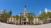 council : VALENCIA, SPAIN – MARCH 15: View on the famous Plaza Ayuntamiento as people pass by on March 15, 2017 in Valencia, Spain.