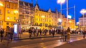 main street : ZAGREB, CROATIA - JULY 12: Time-lapse view on the historic centre of the city as pedestrians and traffic pass by at night on July 12, 2017 in Zagreb, Croatia. Stock Footage