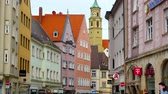 günlük : AUGSBURG, GERMANY - APRIL 15: View on the daily life and the architecture of the historic centre of the city on April 15, 2017 in Augsburg, Germany.