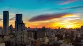 cabaça : Time-lapse view on the beautiful sunset over the skyline of the city in Buenos Aires, Argentina. Stock Footage