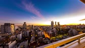 cabaça : Night time-lapse view on the skyline of the city from a balcony of a high rise apartment in Buenos Aires, Argentina. Stock Footage