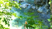 emerald water : View on the distinct emerald green Soca River as it flows through the rocky riverbed in Slovenia.