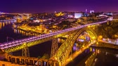 klenba : Time-lapse view on the illuminated Old Town and the iconic Dom Luis Bridge at the River Duro in Porto during sunset