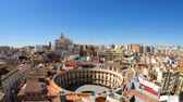 spanyol : Panoramic view on the historic buildings in the Old town of Valencia, Spain Stock mozgókép
