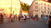 main street : LJUBLJANA, SLOVENIA - CIRCA AUGUST 2017: Daily life on the centre of the city as pedestrians pass by on historic streets circa August, 2017 in Ljubljana, Slovenia