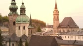 Австрия : The towers of the baroque Salzburg Cathedral in Austria. Стоковые видеозаписи