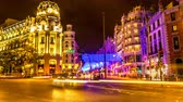 main street : MADRID, SPAIN - SEPTEMBER 9: Time-lapse view of the Gran Via as traffic passes by in the center of the city on September 9, 2016 in Madrid, Spain.