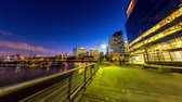 rio de la plata : BUENOS AIRES, ARGENTINA – CIRCA JULY 2017: Time-lapse view of Puerto Madero at night circa July, 2017 in Buenos Aires, Argentina.