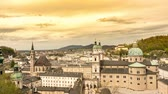 Panorama time-lapse view of the towers of Salzburg in Austria. Dostupné videozáznamy