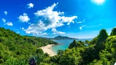 Time-lapse view on an idyllic exotic coast on a sunny day in Thailand.