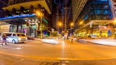 manila : METRO MANILA, PHILIPPINES - CIRCA MARCH 2018: Time-lapse view on daily life on the streets of the city as cars and pedestrians pass by during the night circa March 2018 in Metro Manila, Philippines. Stock Footage