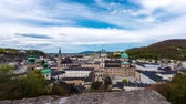 барокко : Panorama time-lapse view of the towers of Salzburg in Austria. Стоковые видеозаписи