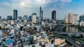 contemporary architecture : HO CHI MINH CITY, VIETNAM - CIRCA FEBRUARY 2018: Time-lapse view on the skyline of the city on a cloudy day circa February 2018 in Ho Chi Minh City, Vietnam.