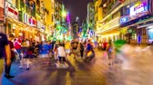 夜遊び : HO CHI MINH CITY, VIETNAM - CIRCA FEBRUARY 2018: Time-lapse view on the busy nightlife in the famous Bui Vien street circa February 2018 in Ho Chi Minh City, Vietnam.