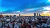 arjantin : Time-lapse view on the skyline of the city as colorful clouds pass by in the light of the setting sun in Buenos Aires, Argentina. Stok Video