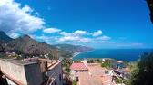 sicilie : Time-lapse view of mediterranean houses at the coast of Taormina, Sicily.
