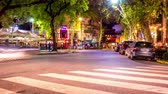 夜遊び : BUENOS AIRES, ARGENTINA - CIRCA FEBRUARY 2019: Time-lapse view on a street at night in Palermo circa February 2019 in Buenos Aires, Argentina.