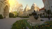 ハンガリー語 : BUDAPEST, HUNGARY - CIRCA APRIL 2019: View on the famous Castle in the Varosliget Park circa April 2019 in Budapest, Hungary. 動画素材