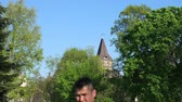 wegry : BUDAPEST, HUNGARY - CIRCA APRIL 2019: View on the famous Castle in the Varosliget Park circa April 2019 in Budapest, Hungary. Wideo